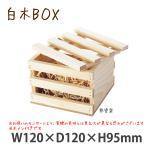 白木BOX J型 無塗装 #10322 シンプルな木製ボックス 中身が見えるタイプ フタ付き