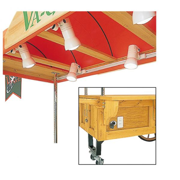 照明用ダクト100Vコンセントテントフレームには照明用ダクトが標準装備されています。便利なAC100V電源2口装備。