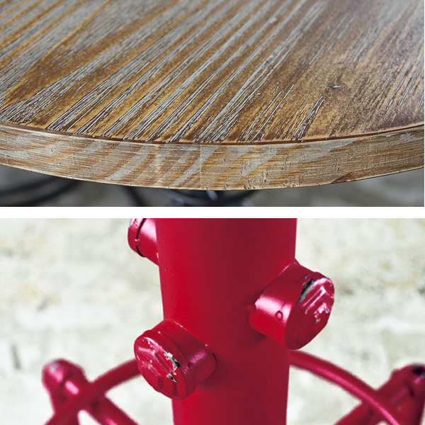 上:ビンテージ風加工の天板 下:レッドのみスチール部分にダメージ加工あり