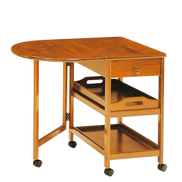 KW-415(BR) 木製テーブル付ワゴン