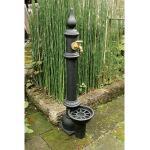 14011N 鋳鉄立水栓 Aタイプ(給排水管付) (黒)