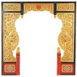 455003 AW-2004 中国の門 龍と龍 両面透かし木彫